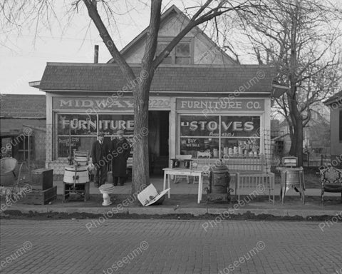 Midway Store Selling Furniture & Stoves 1936 Vintage 8x10 Reprint Of Old Photo - Photoseeum