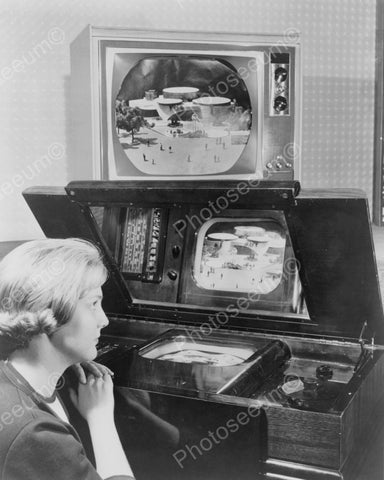 Lady Watching 2 TVs At Same Time 1950s Vintage 8x10 Reprint Of Old Photo