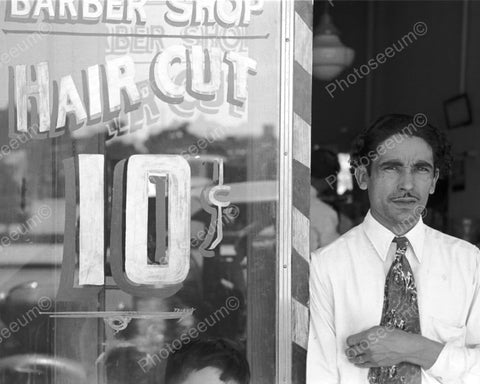 Man Outside 10 Cent Hair Cut Barber Shop 8x10 Reprint Of Old Photo