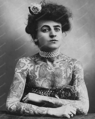 Victorian Lady Covered In Tattoos 8x10 Reprint Of Old Photo