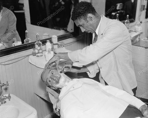Barber Shop Shaving Man1936 Vintage 8x10 Reprint Of Old Photo