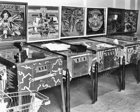 Arcade Pinball Machine Lineup 1970s Vintage 8x10 Reprint Of Old Photo - Photoseeum
