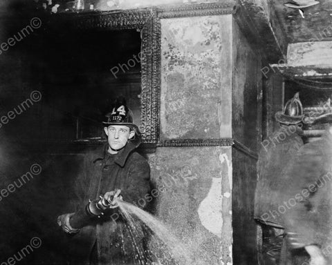 Fireman Fights Fire With Water Hose 1900 8x10 Reprint Of Old Photo