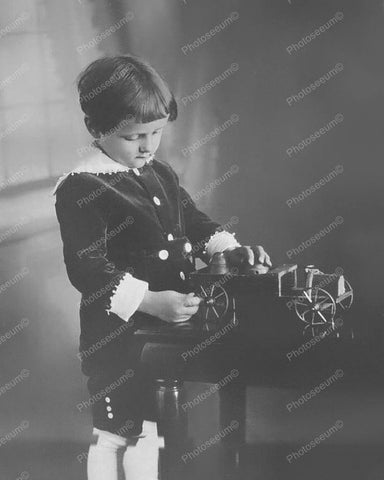 Boy Playing With Very Old Toy Car 8x10 Reprint Of Old Photo
