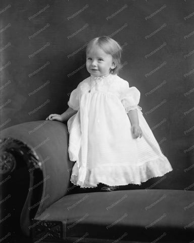 Beautiful Baby On Antique Couch Portrait 8x10 Reprint Of Old Photo