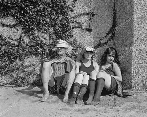 Coy Girls Sit With Cool Beach Bum 1900s  8x10 Reprint Of Old Photo