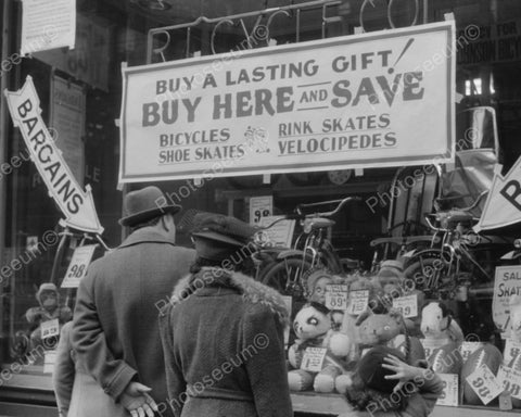 Window Shopping For Toys & Sporting Goods 1940 Vintage 8x10 Reprint Of Old Photo