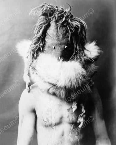 Indian Ceremonial Head Dress 1904 Vintage 8x10 Reprint Of Old Photo