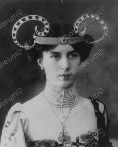 Victorian Lady Early Mickey Mouse Ears? 8x10 Reprint Of Old Photo