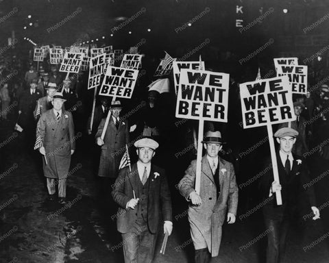 We Want Beer Newark Labor Union 1930s 8x10 Reprint Of Old Photo