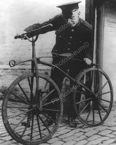 Antique Bicycle & Police Officer Vintage 8x10 Reprint Of Old Photo