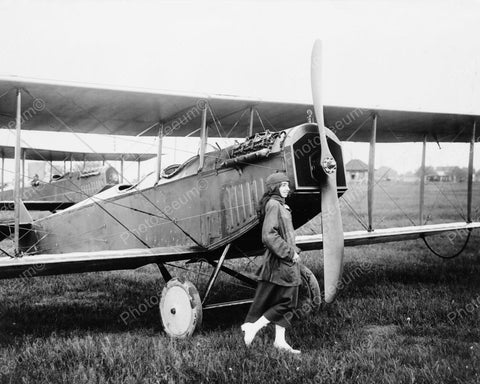 Woman And Aeroplane 1910 Vintage 8x10 Reprint Of Old Photo