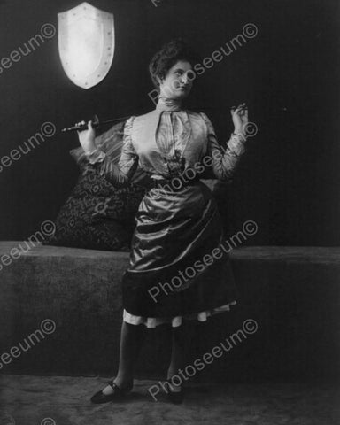 Victorian Lady With Sword 1900s Fencing 8x10 Reprint Of Old Photo