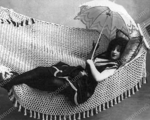 Lady In Hammock With Parasol Vintage 8x10 Reprint Of Old Photo
