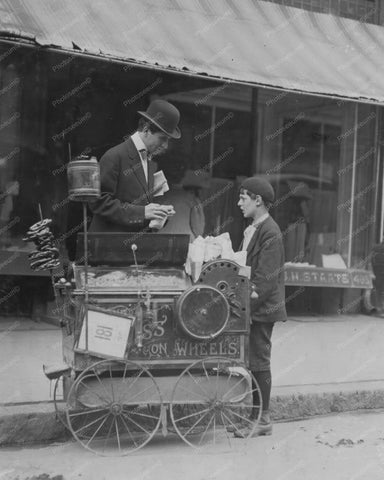Antique Peanut Wagon Vendor &  Boy 8x10 Reprint Of Old Photo