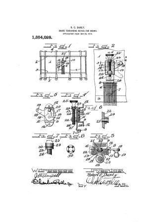 USA Patent Ludwig Snare Drum 1920's Drawings