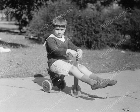 Boy Riding Antique Wooden Wheel Tricycle Viintage 8x10 Reprint Of Old Photo
