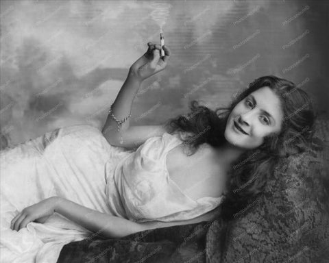 Woman In Sultry Pose With Cigarette 1900 8x10 Reprint Of Old Photo