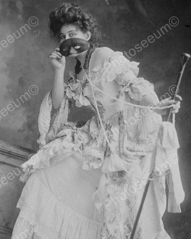 Woman Dressed For Masquerade Vintage 8x10 Reprint Of Old Photo