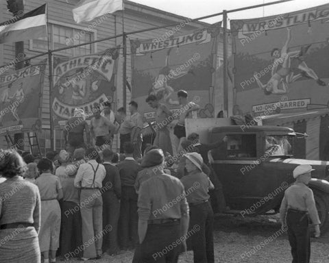 Wrestling Boxing Amusement Park Side Show 1936 Vintage 8x10 Reprint Of Old Photo