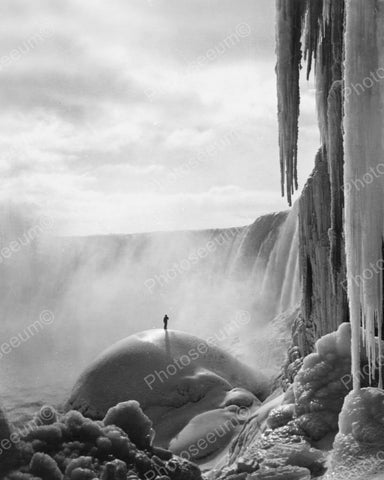 Niagara Falls Man Stands On Frozen Mound 8x10 Reprint Of Old Photo