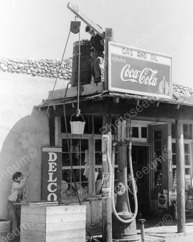 Boy Plays On Gas & Oil Roof wCoke Sign 8x10 Reprint Of Old Photo - Photoseeum
