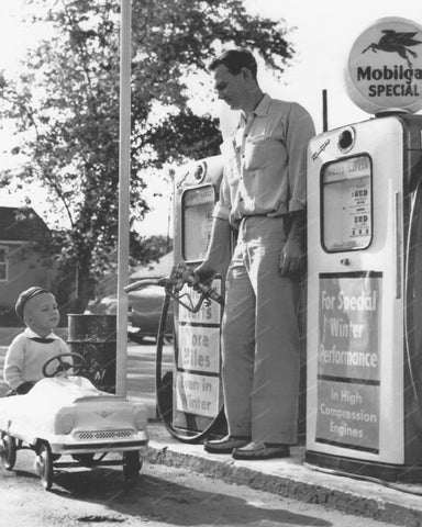 Boy Rides Pedal Car To Gas Station 8x10 Reprint Of Old Photo