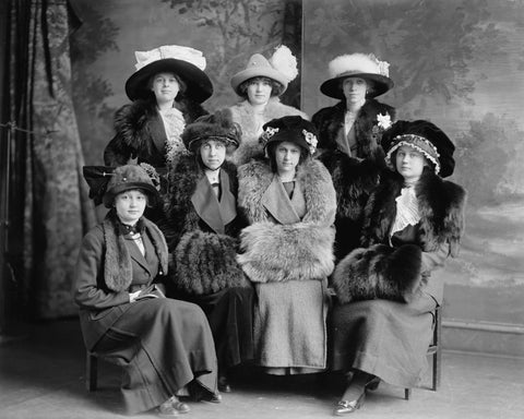 Group Of Ladies Wearing Interesting Hats Vintage 8x10 Reprint Of Old Photo