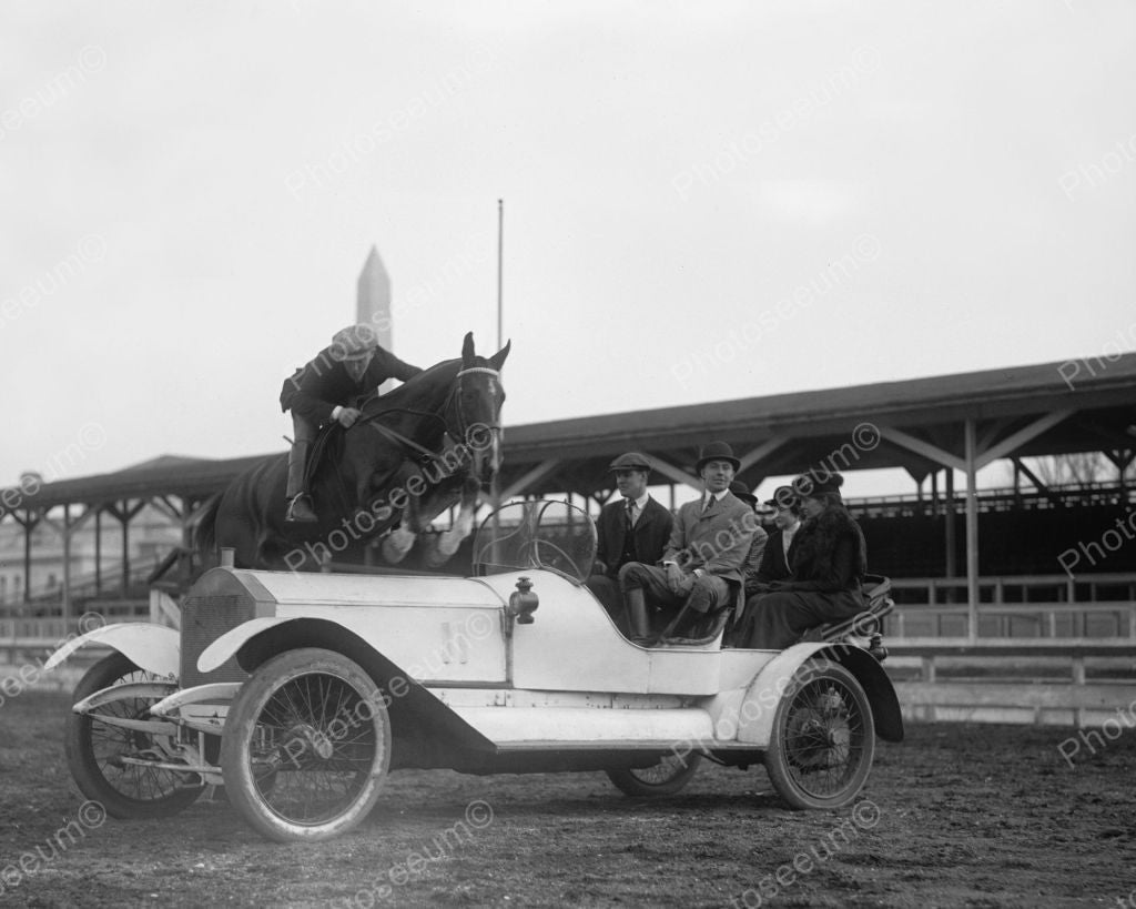 Ralph Coffin Jumping Horse  Rolls Royce 1916 Vintage 8x10 Reprint Of Old Photo 2