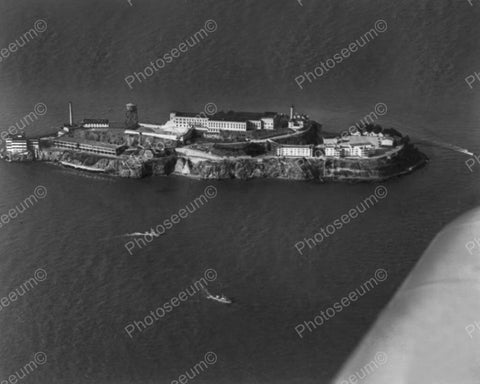 Alcatraz Prison Island Aerial View 1940s 8x10 Reprint Of Old Photo
