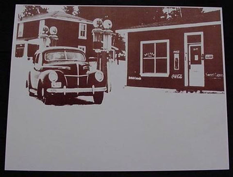 Gas Station 1939 Mercury, Coke, Salada Tea Sepia Card Stock Photo 1930s