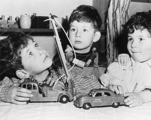 Cute Little Boys Play With Toy Cars! 8x10 Reprint Of Old Photo