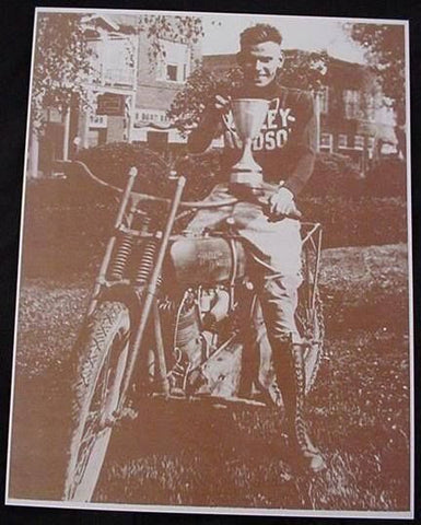 Harley Davidson Motorcycle Rider With Trophy Sepia Card Stock Photo 1920s