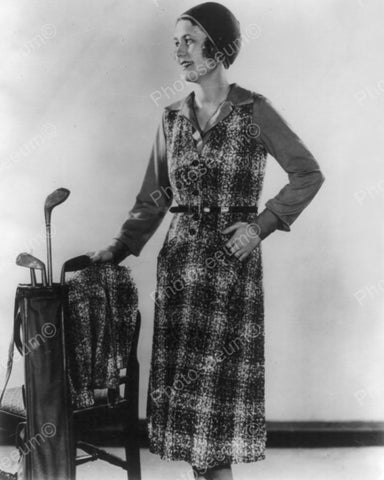 Woman Modelling Outfit & Golf Clubs In Bag Vintage 8x10 Reprint Of Old Photo