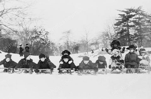Children Lined Up For Downhill Sled Race! Old 4x6 Reprint Of Photo