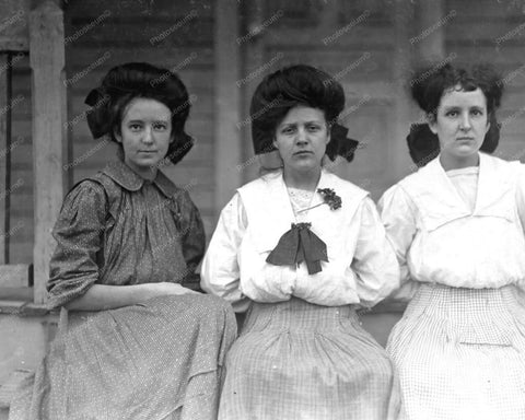 3 Young Women Posing 6-19 Years Old 1900 Vintage 8x10 Reprint Of Old Photo - Photoseeum