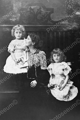 Elegant Lady &  Daughters Portrait 1800s 4x6 Reprint Of Old Photo