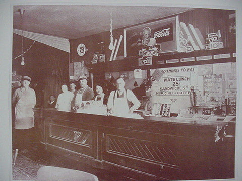 Coca Cola Lunch Counter 1930's Vintage Sepia Card Stock Photo 1930s
