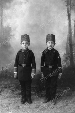 Brothers Straight & Tall In Uniforms 4x6 Reprint Of Old Photo