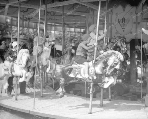 Father Daughter Merry Go Round 1934 Vintage 8x10 Reprint Of Old Photo