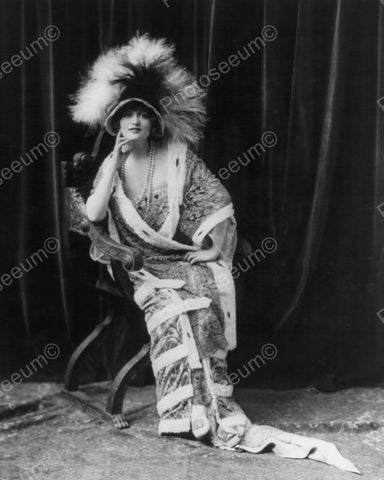 Lady Poses With Large Feather Covered Hat Vintage 8x10 Reprint Of Old Photo