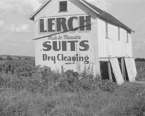 Barn Sign Lerch Suits Dry Cleaning 1938 Vintage 8x10 Reprint Of Old Photo