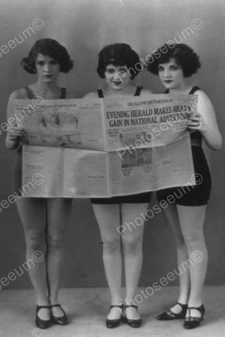 Bathing Beauties Pose Behind Newspaper! 4x6 Reprint Of Old Photo