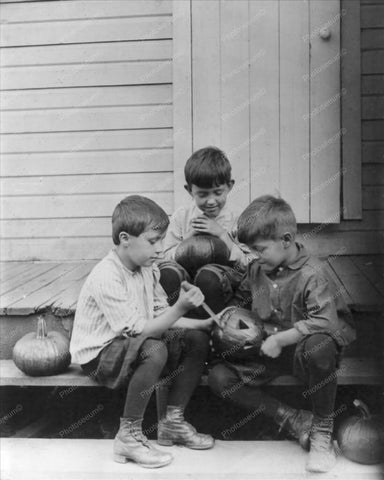 Boy Pumpkin Carvers! Halloween Vintage 8x10 Reprint Of Old Photo