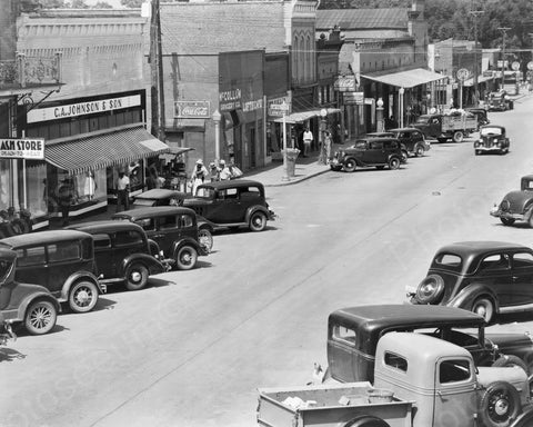 Alabama Main Street with Coca Cola Signs 1935 8x10 Reprint Of Old Photo - Photoseeum