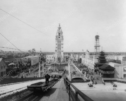 Coney Island Atop The Chutes 1900s 8x10 Reprint Of Old  Photo