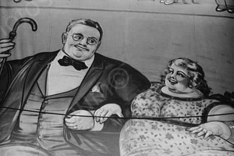 Vermont Sideshow Poster Fat Couple 1940s 4x6 Reprint Of Old Photo