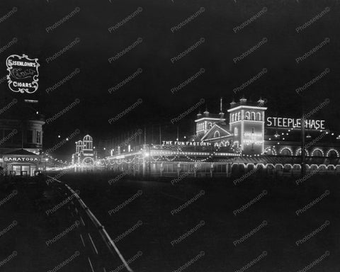 Atlantic City Boardwalk At Night 1910s 8x10 Reprint Of Old Photo