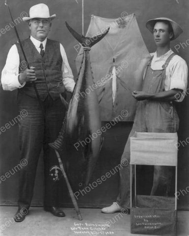 Captain Farnsworths Kite Tuna Catch 1906 Vintage 8x10 Reprint Of Old Photo - Photoseeum