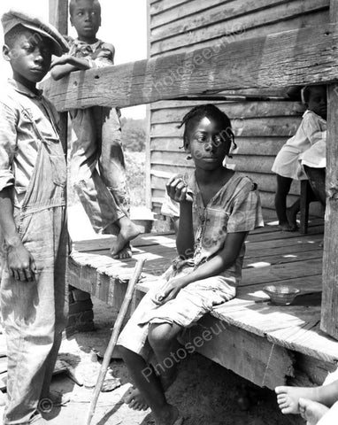 Black Children Sitting On Porch Reprint 8x10 Reprint Of Old Photo - Photoseeum